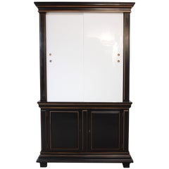 1970s James Mont Style Ebonized Armoire