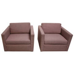 Pair Of Ottomans In Jack Lenor Larsen Fabric For Sale At