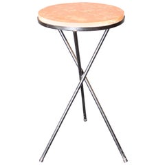 French Marble-Top Table with Iron Base