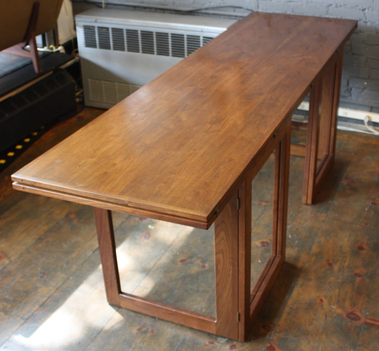 American modern walnut console or convertible dining table with american modern walnut console or convertible dining table with gate legs 2 geotapseo Images