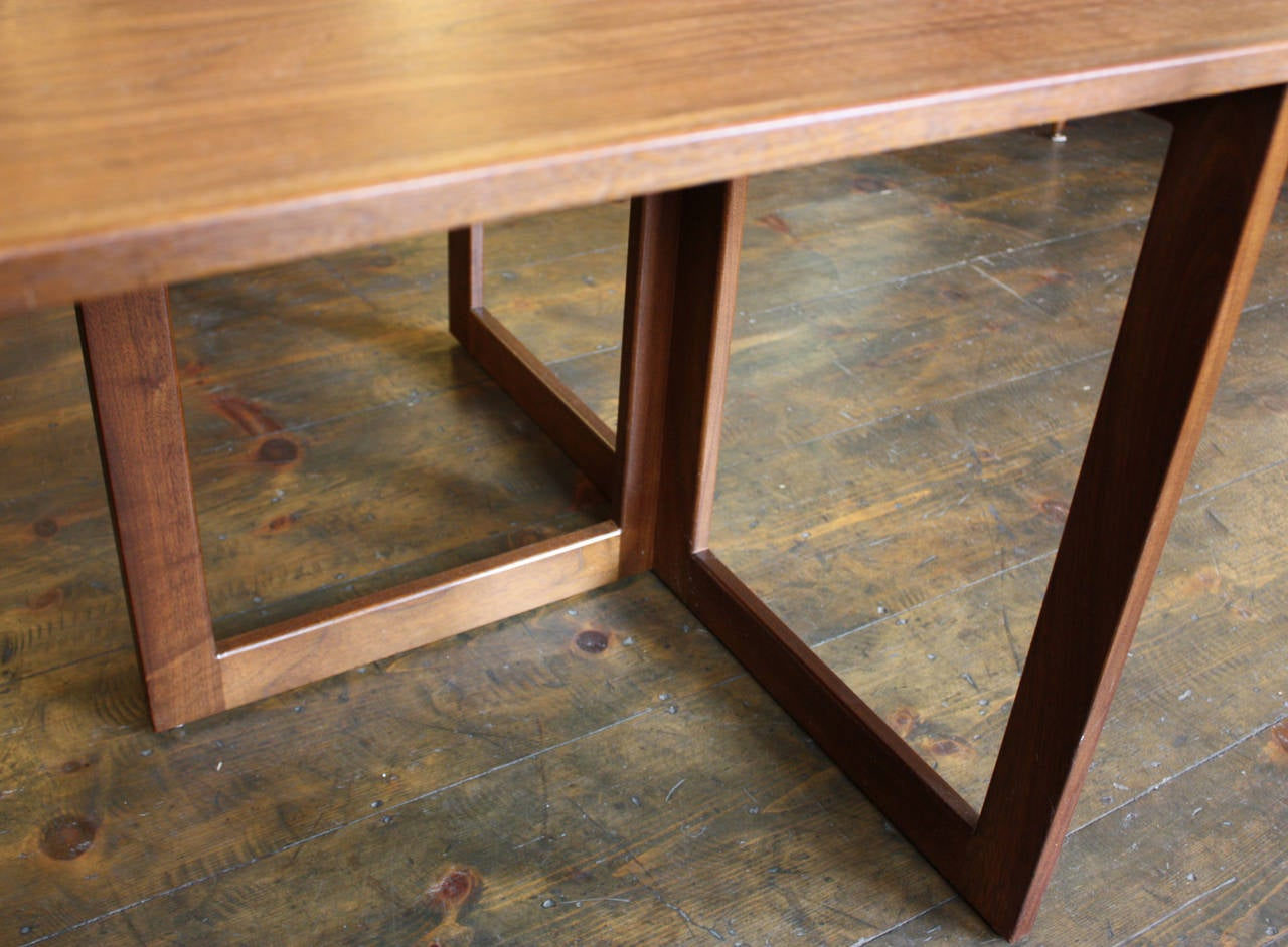 American modern walnut console or convertible dining table - Console convertible table ...