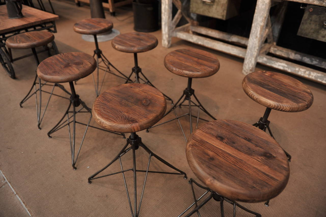 Industrial Quot Eiffel Tower Quot Style Adjustable Iron Stools At