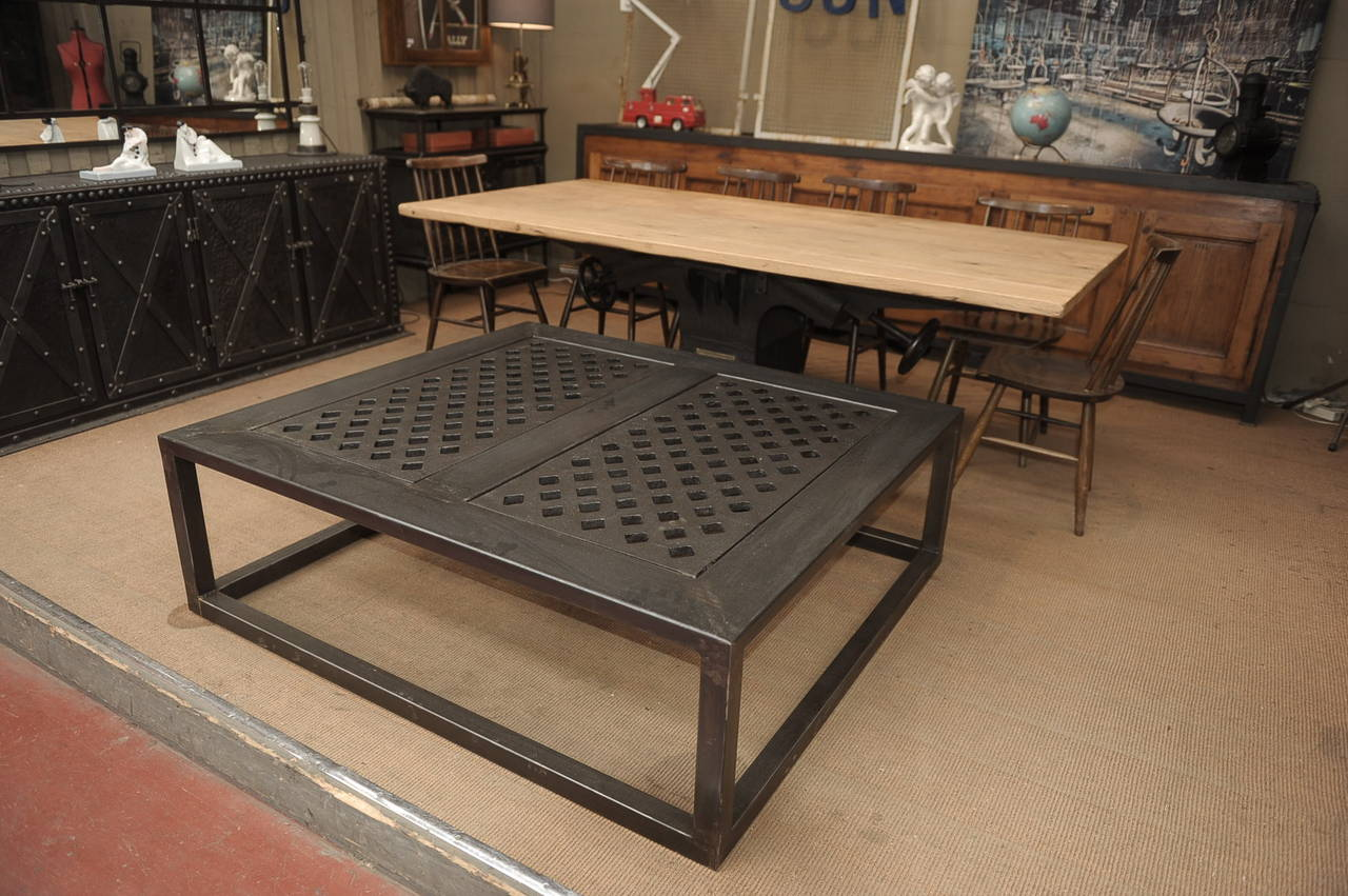 Industrial Cast Iron And Steel Coffee Table At 1stdibs
