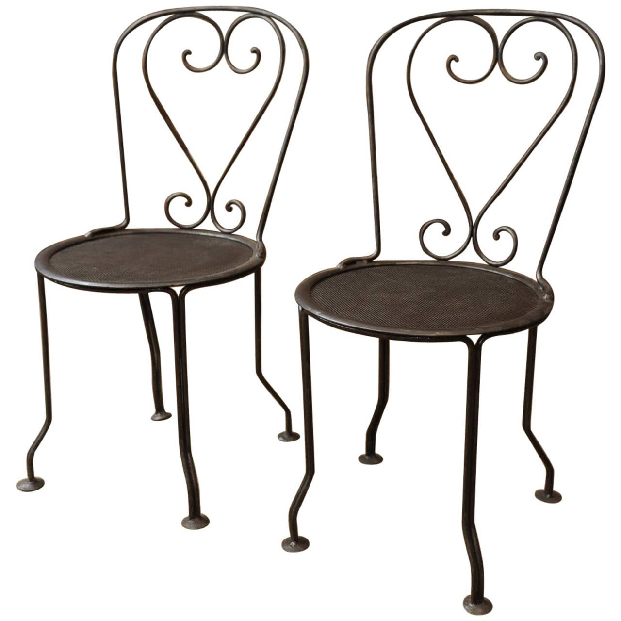 Paire of 1920s iron french garden chairs at 1stdibs French metal garden furniture