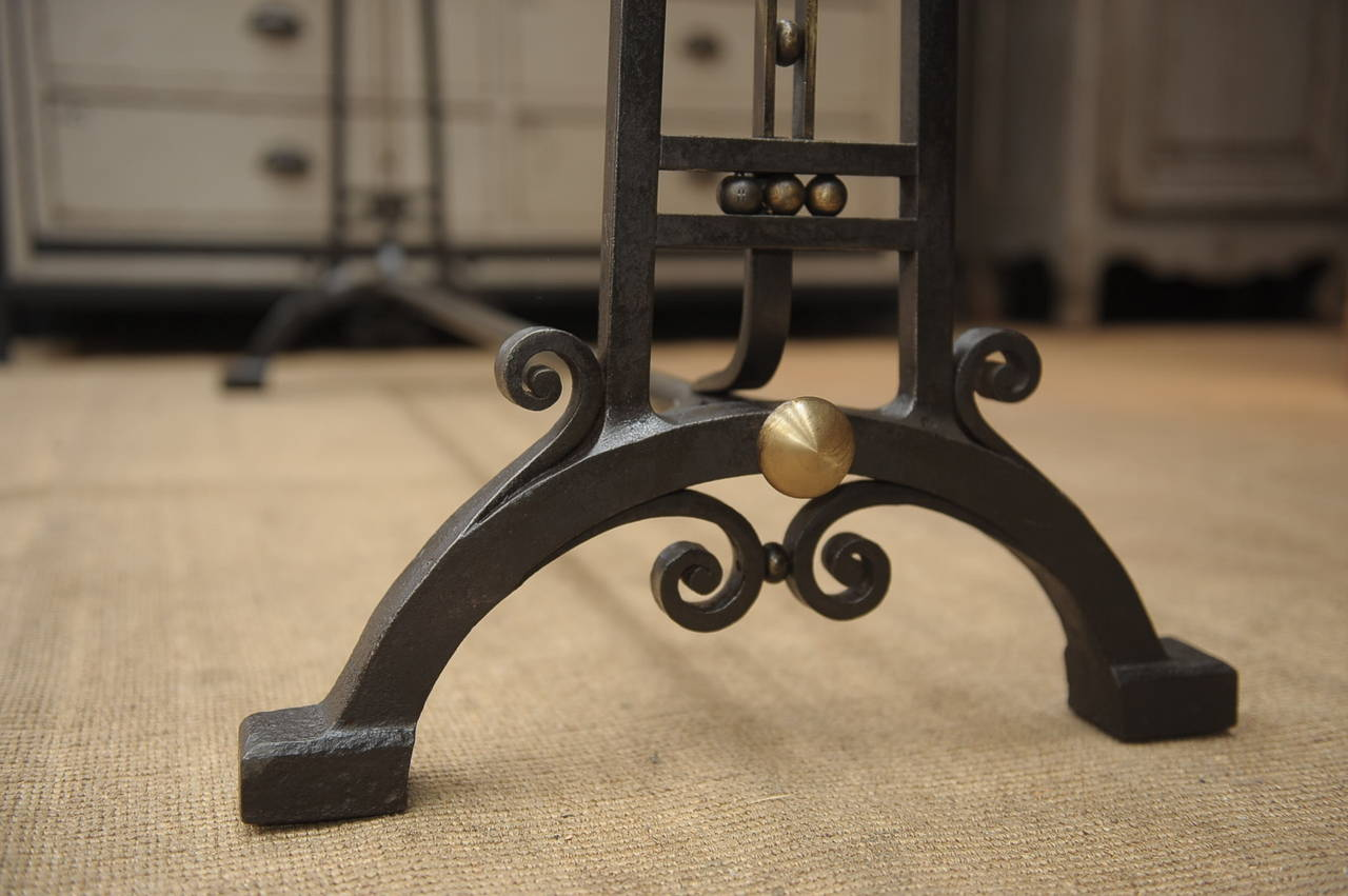 French Art Deco Wrought Iron And Brass Coat Rack Circa 1925 3