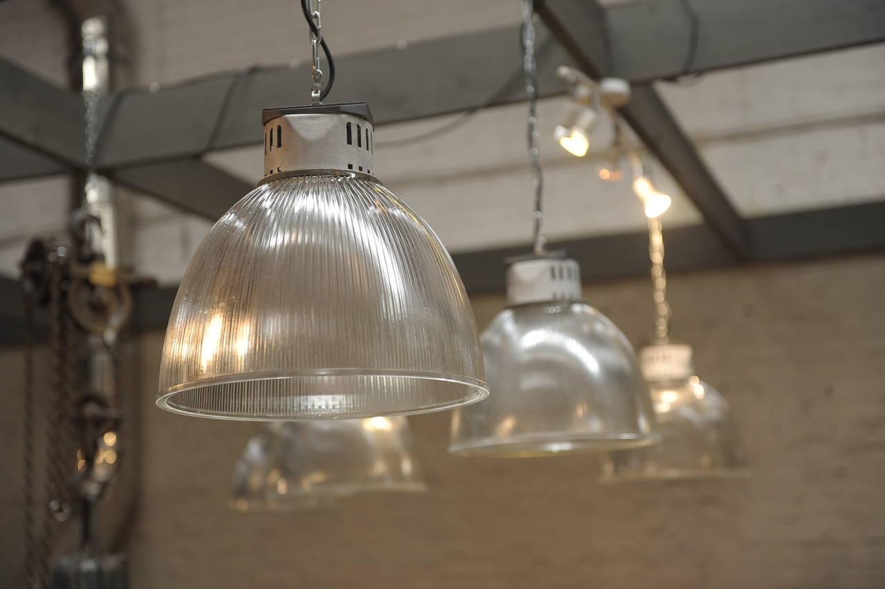 1940s Holophane Glass Industrial Pendant Lights At 1stdibs