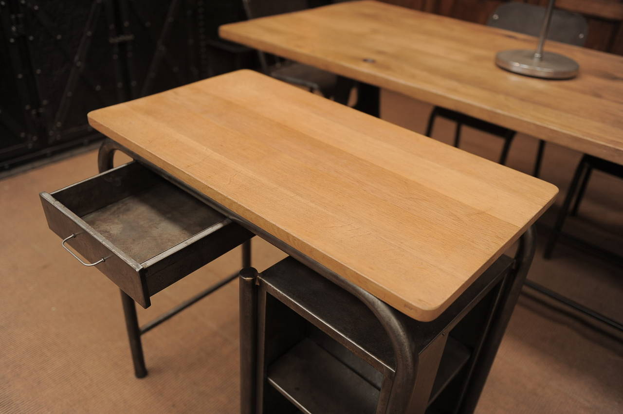 Industrial Child S Desk 1950s In Metal With Oak Top At 1stdibs