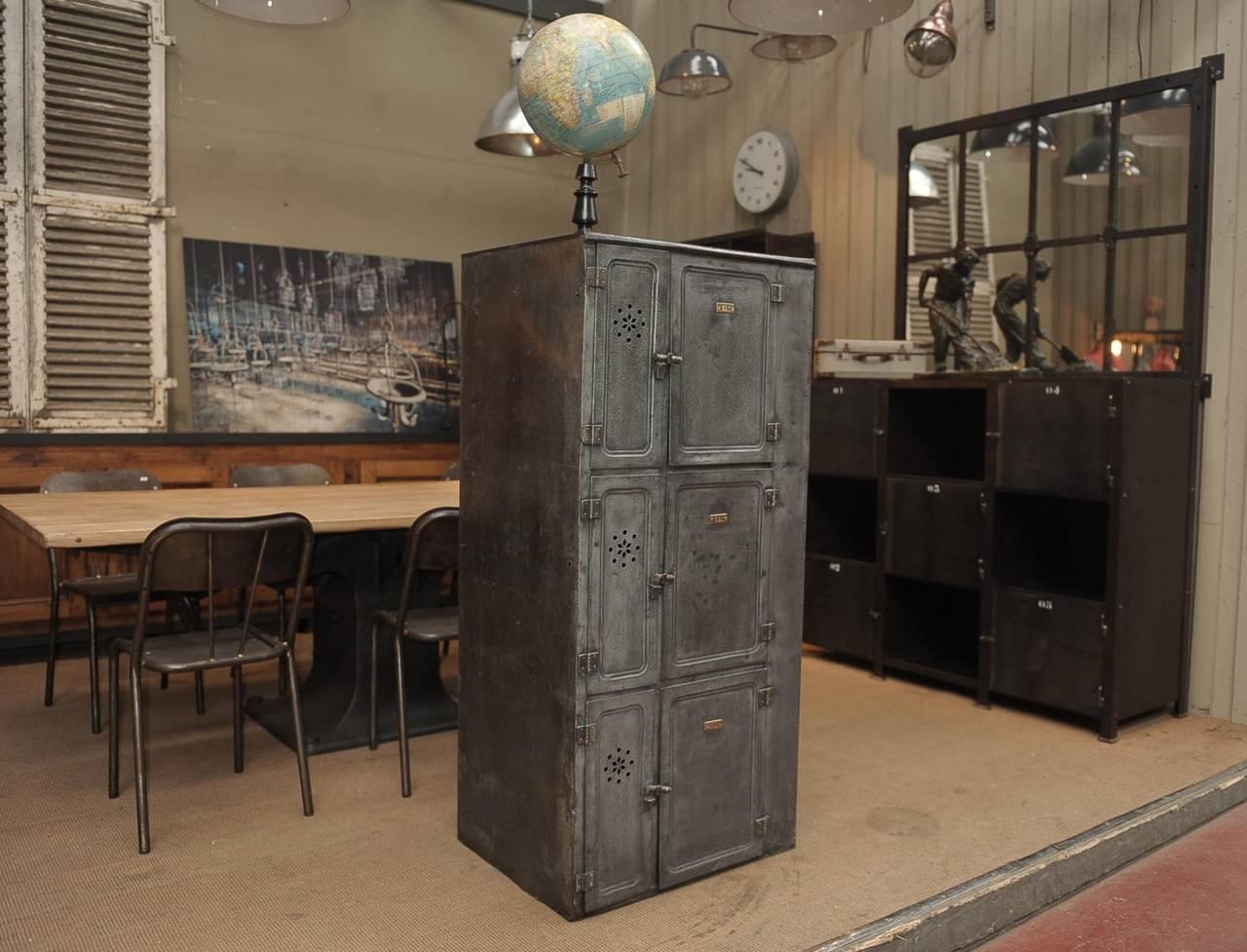 Vintage Industrial Fire Doors For Sale : Vintage iron boat six doors industrial cabinet circa