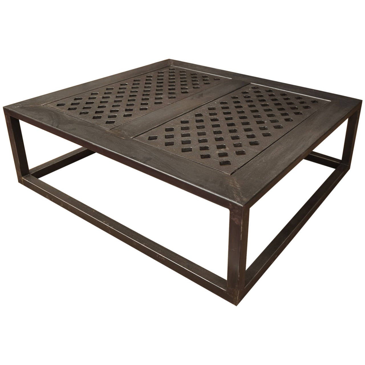 Industrial cast iron and steel coffee table at 1stdibs Industrial metal coffee table