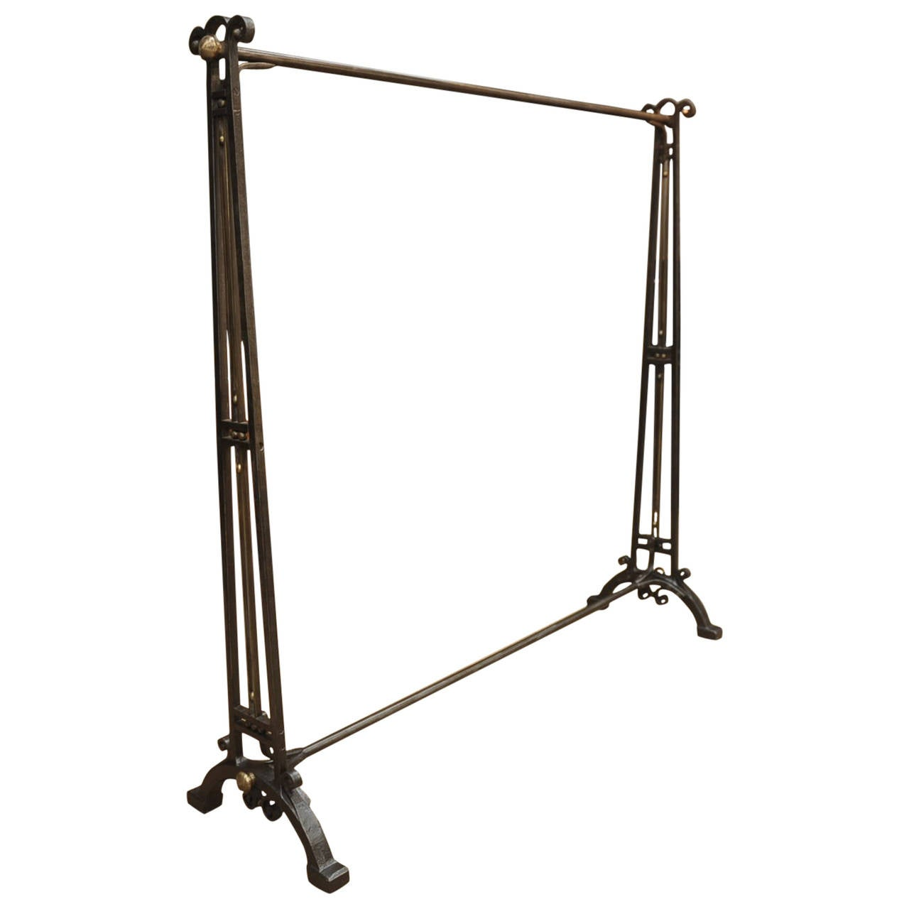 French Art Deco Wrought Iron And Brass Coat Rack Circa 1925 1