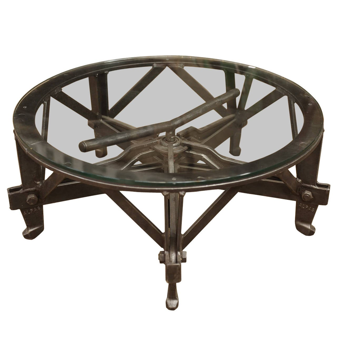 Industrial Iron And Glass Round Coffee Table At 1stdibs