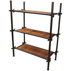 Industrial French Factory Vintage Shelf in Iron and Oak, circa 1920