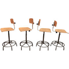 Adjustable Industrial Architect Turning and Adjustable Stools, circa 1950