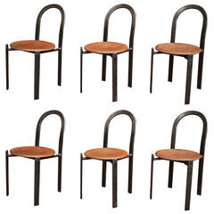 Set of Six Design Industrial French Iron Chairs, 1950s