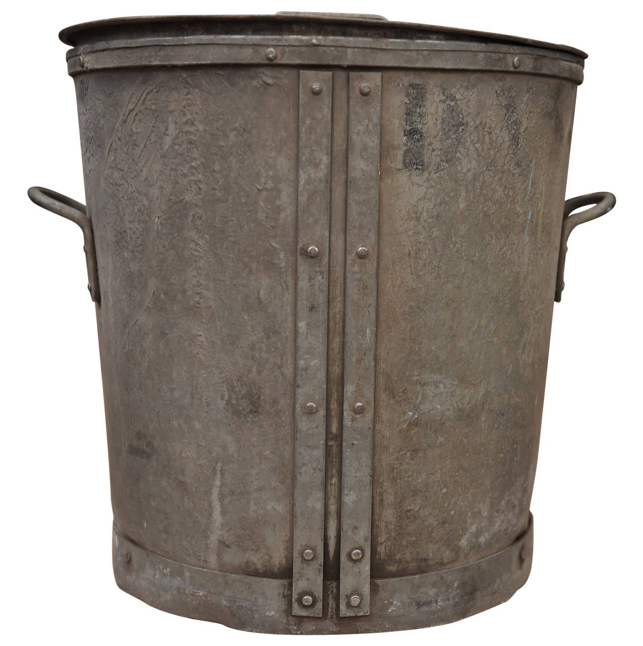 vintage parisian galvanized riveted metal buckets circa