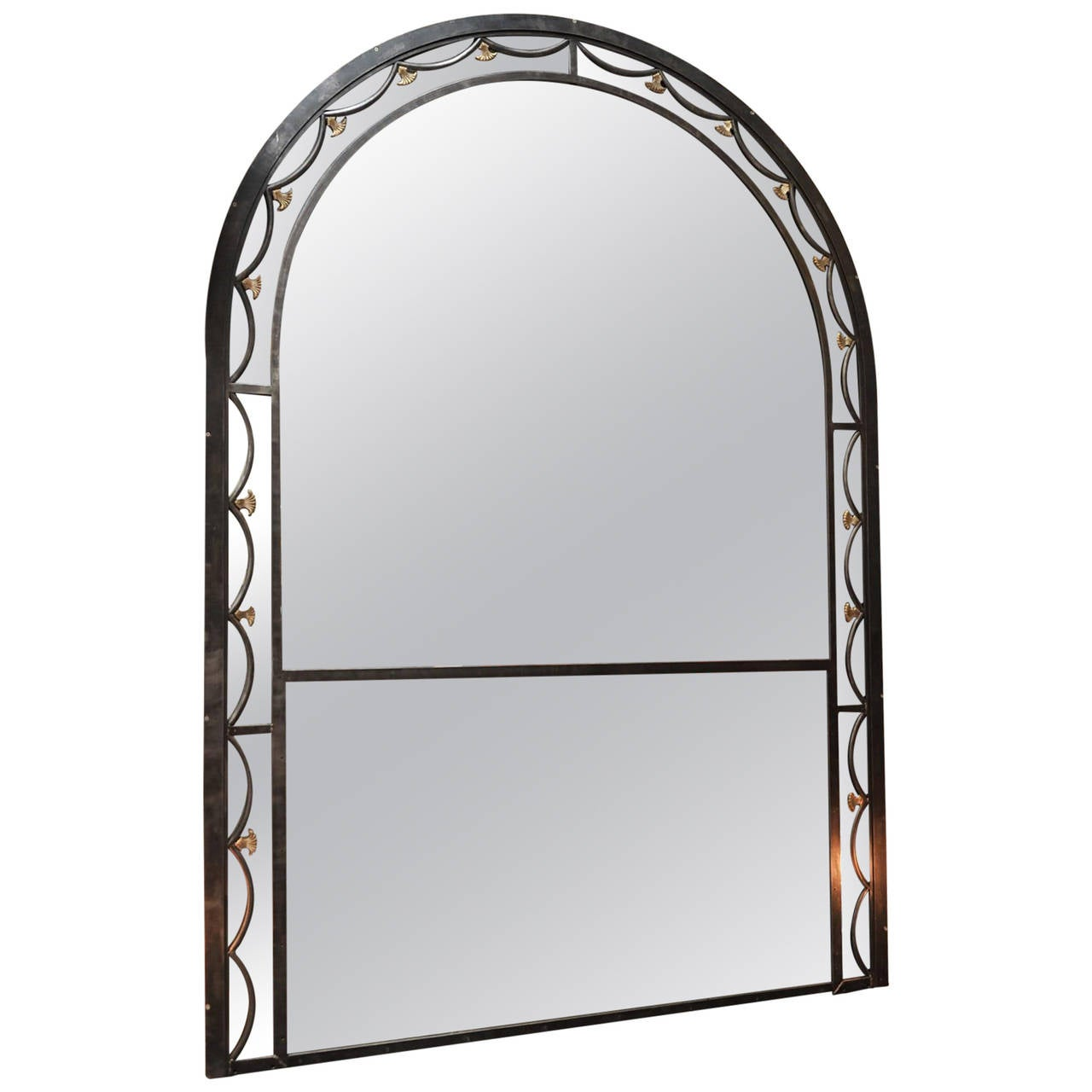 Huge iron and bronze mirror 1940s at 1stdibs for Bronze mirror