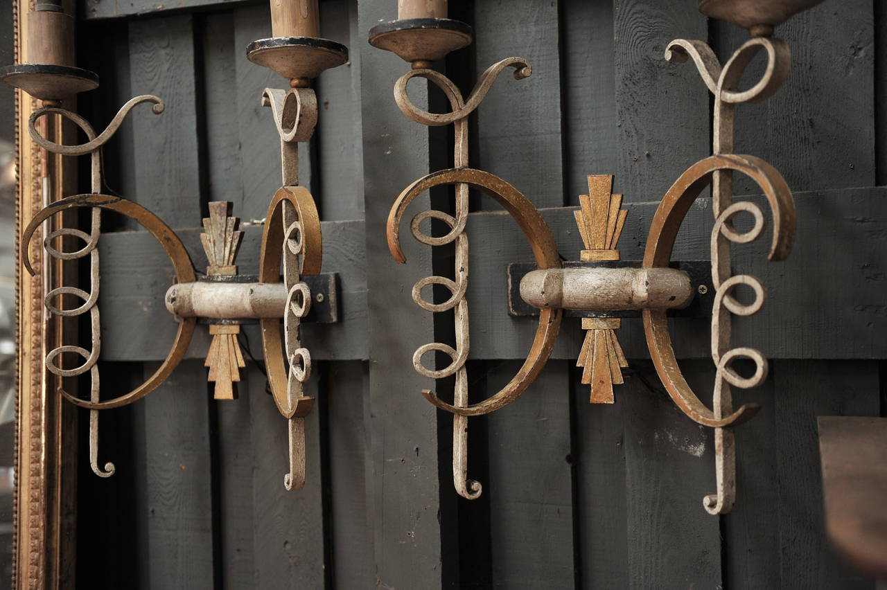 Large Wall Sconces Wrought Iron : Pair of French Large Wrought Iron Wall Sconces, 1940s For Sale at 1stdibs