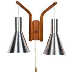 Danish Modern Double-Cone Wall Light