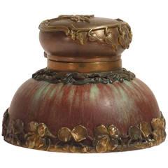 Eugene Baudin, Art Nouveau Ceramic Inkwell, Signed