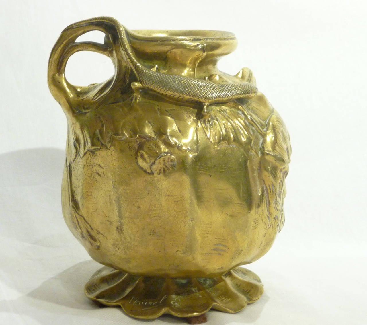 emile justin maurel art nouveau vase l zard et fleurs de pavots signed for sale at 1stdibs. Black Bedroom Furniture Sets. Home Design Ideas
