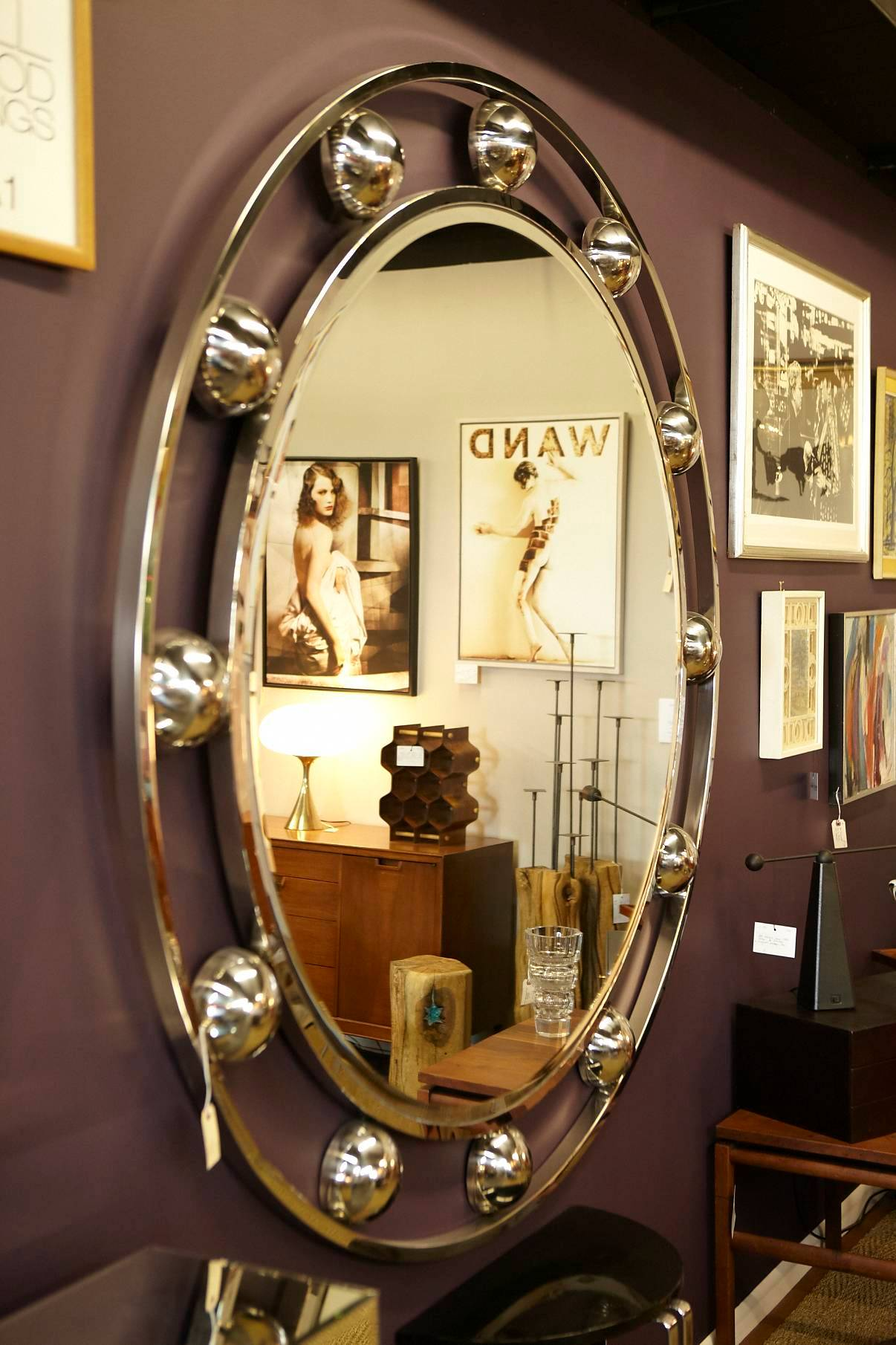 Custom made chrome mirror with beveled glass at 1stdibs for Custom made mirrors