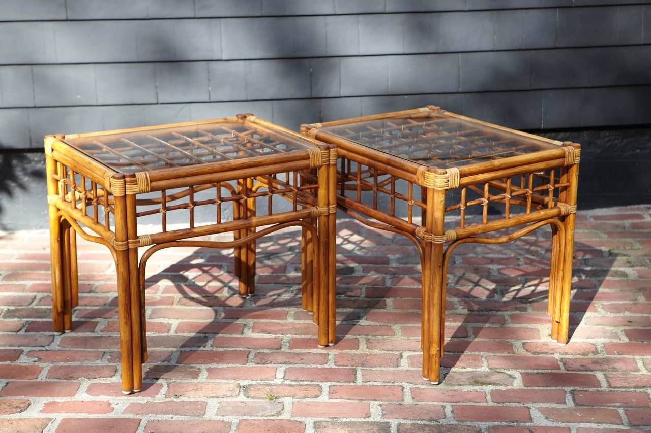 Pair Of Vintage Rattan Side Tables In The Style Of Franco Albini 2