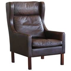 Classic Børge Mogensen Style Leather Wingback Chair