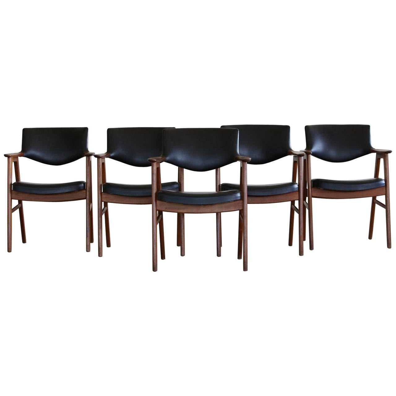 Set of Five Dining Chairs in Teak and Black Vinyl by Erik  : 2966352l from www.1stdibs.com size 1280 x 1280 jpeg 62kB