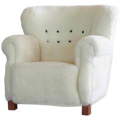 Fritz Hansen Easy Chair Upholstered in Lambswool, Model 1490