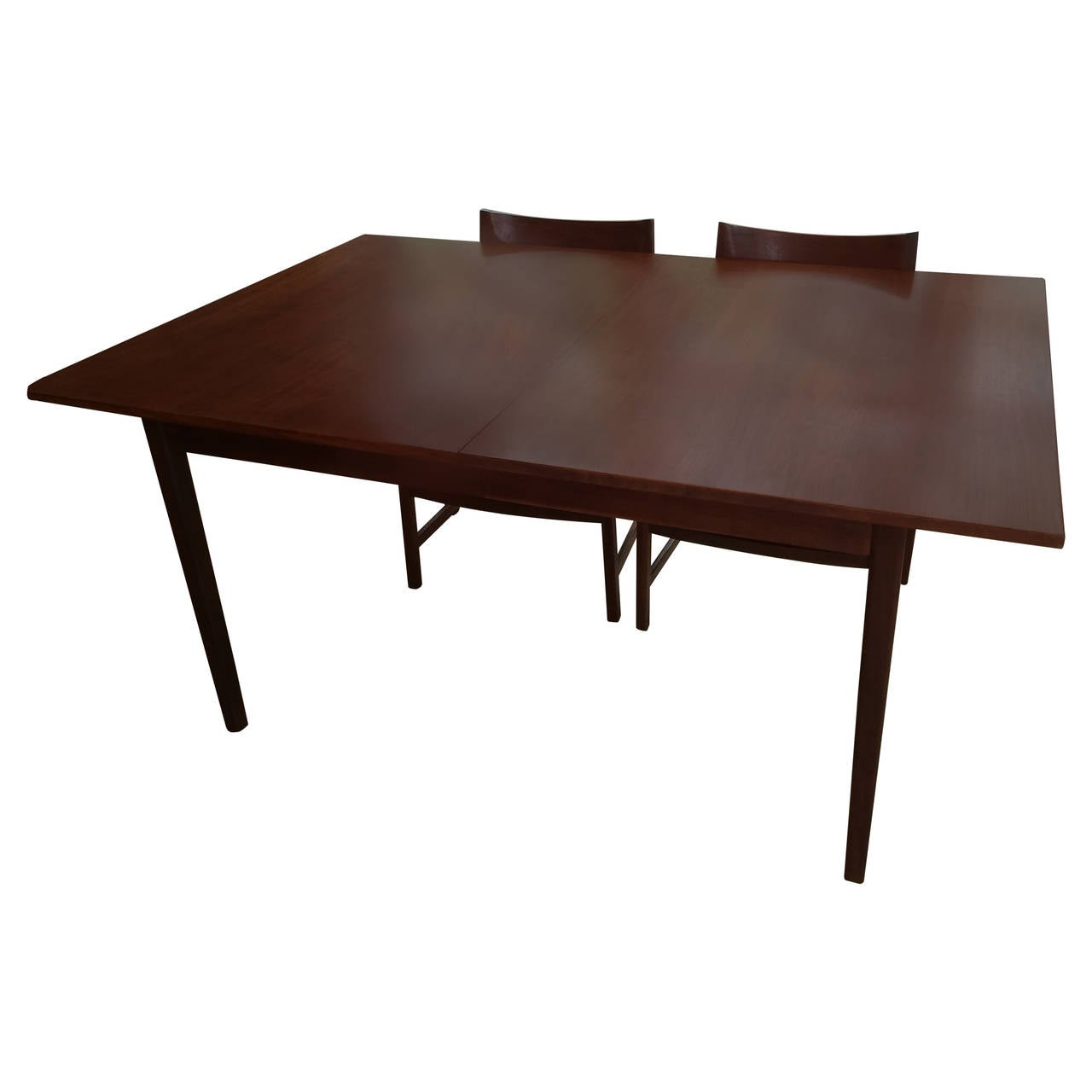 danish midcentury walnut dining table with six matching walnut chairs