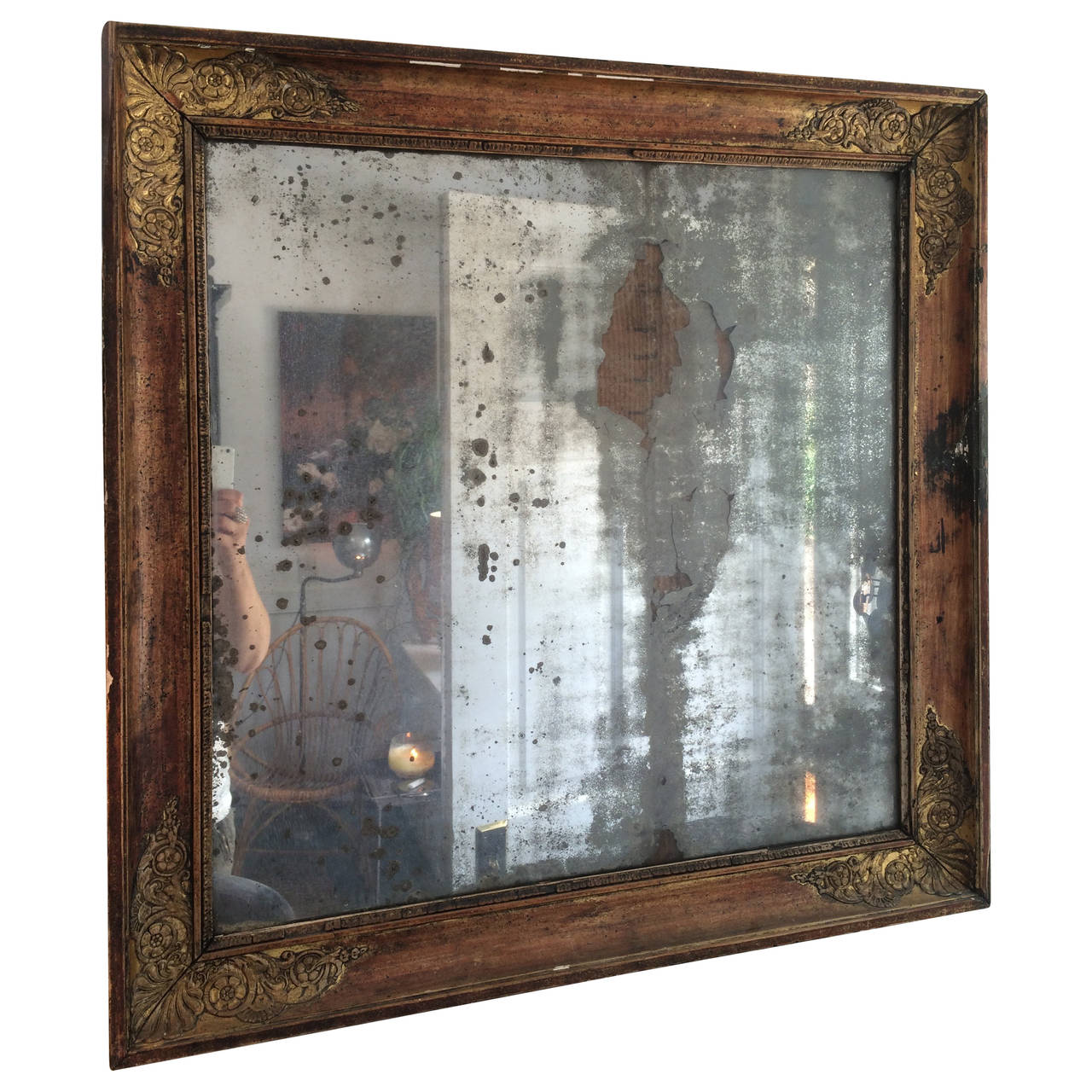 Vintage Italian Mirror With Worn Wood And Giltwood Frame