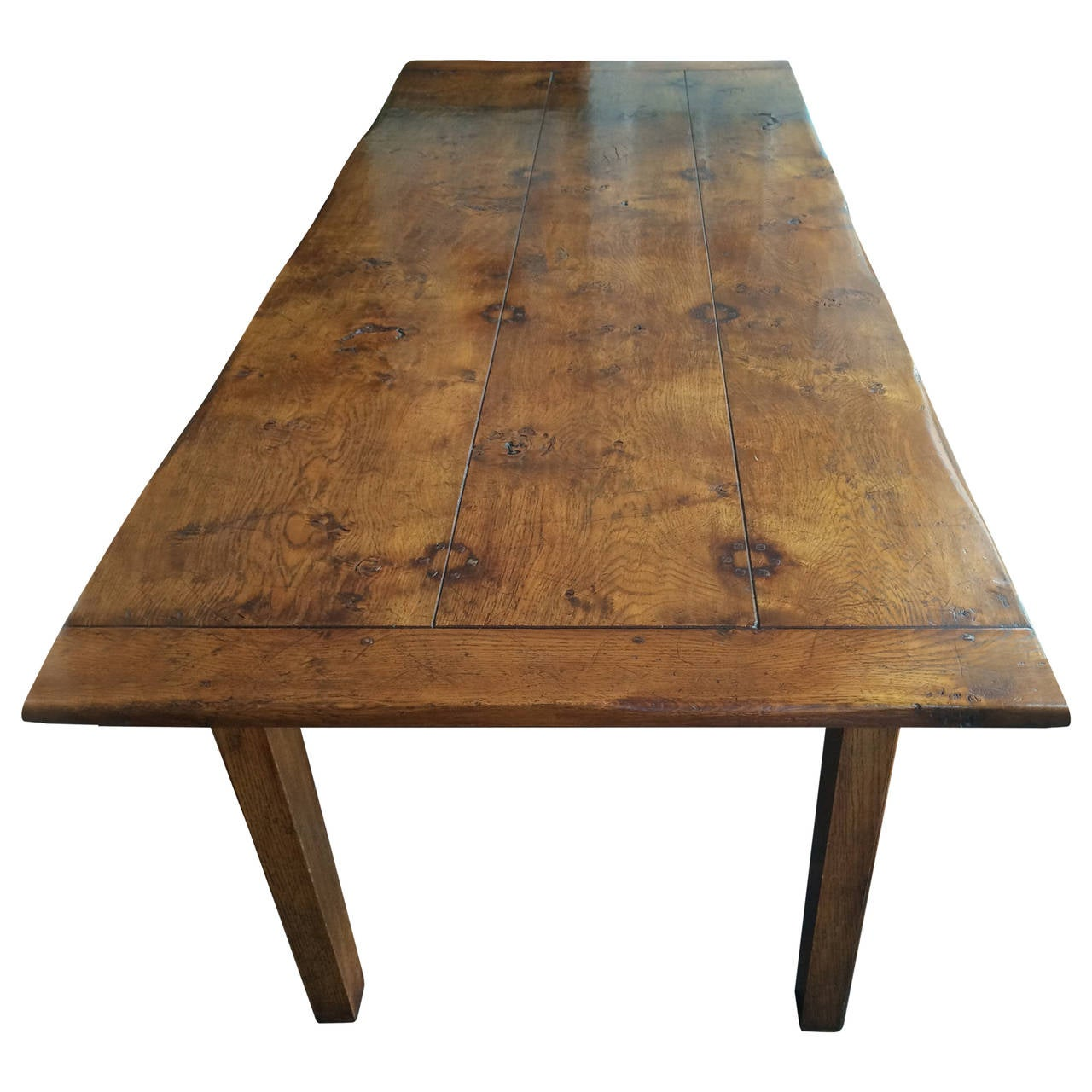 19th Century French Farm Table In Wide Plank Chestnut Wood
