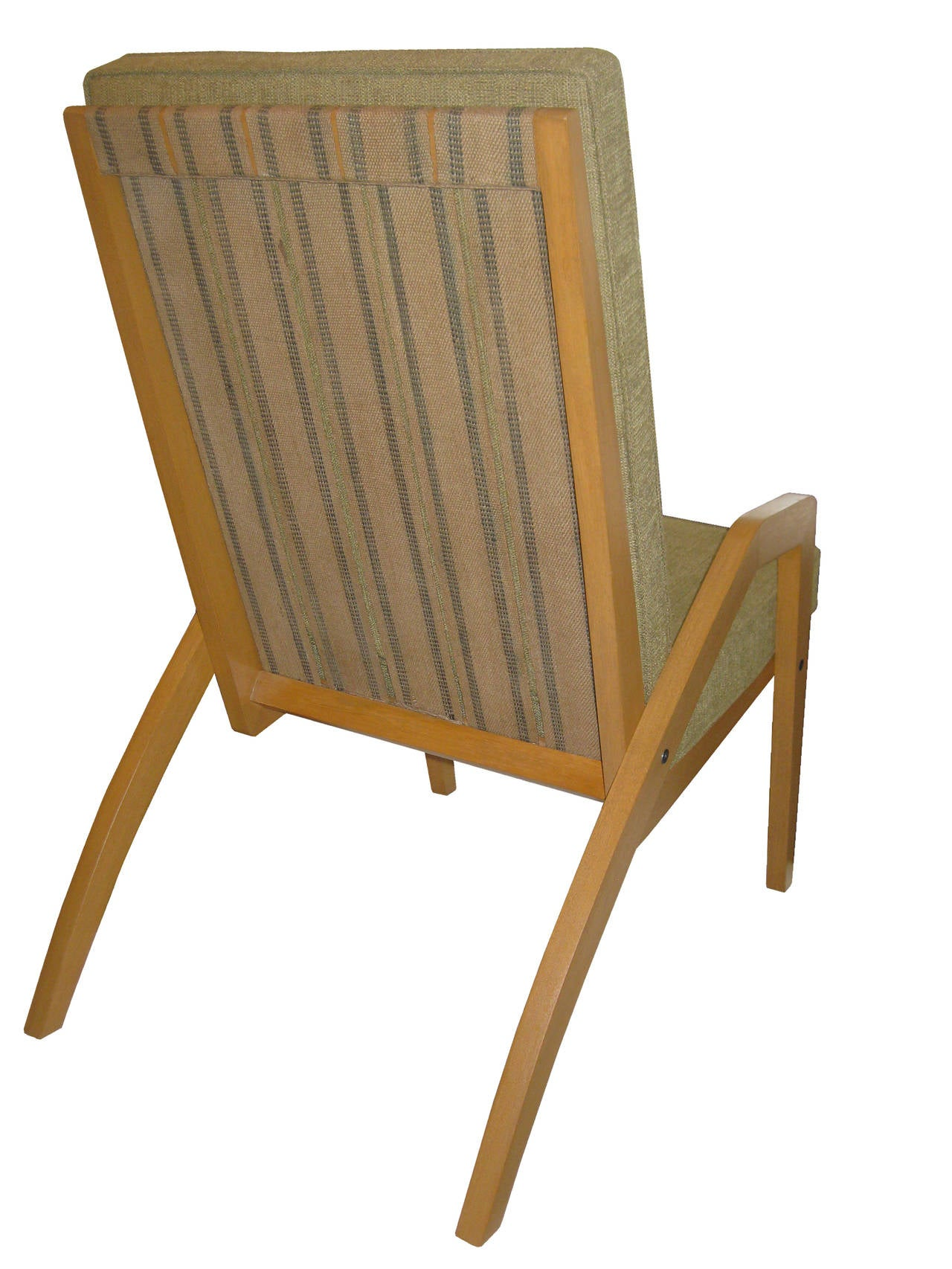 Light Oak Chair with Original Jute Webbing and Upholstery circa