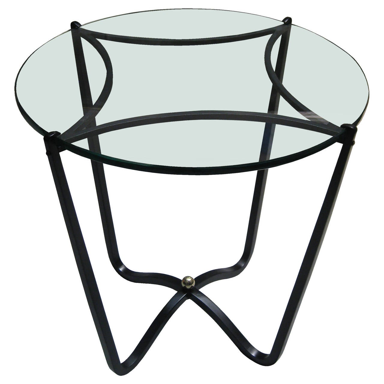 Side table with wrought iron base by arturo pani circa for Wrought iron side table base