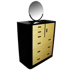 Gentleman's Dresser of Lacquered Metal with Removable Mirror, Norman Bel Geddes