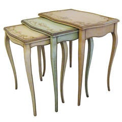 Louis XV Style Hand-Painted Nesting Tables, circa 1940