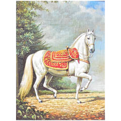 Oil Painting on Board of a Riderless Steed in the Spanish Taste