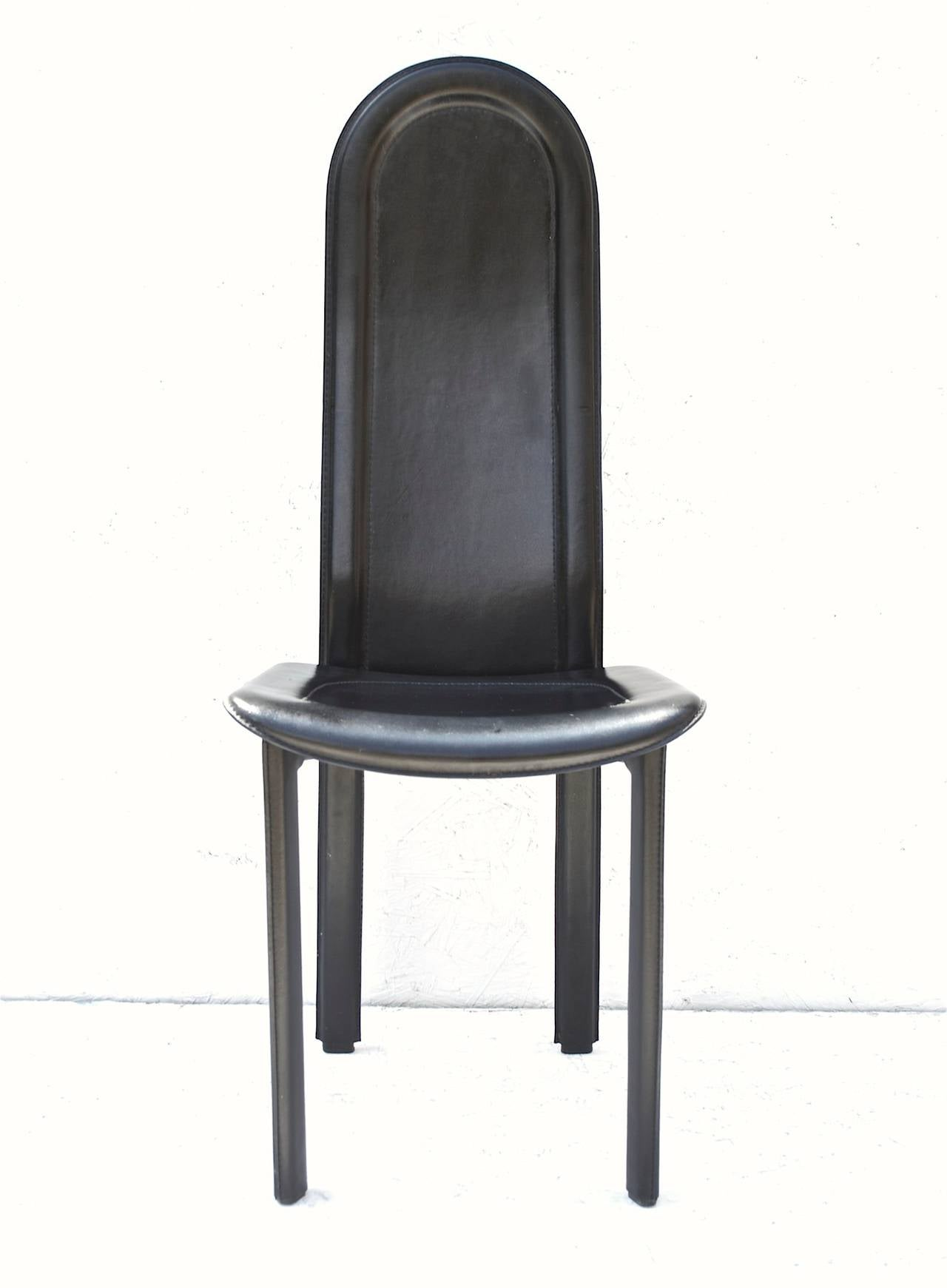 Black Leather Dining Chairs by Artedi U K For Sale at 1stdibs