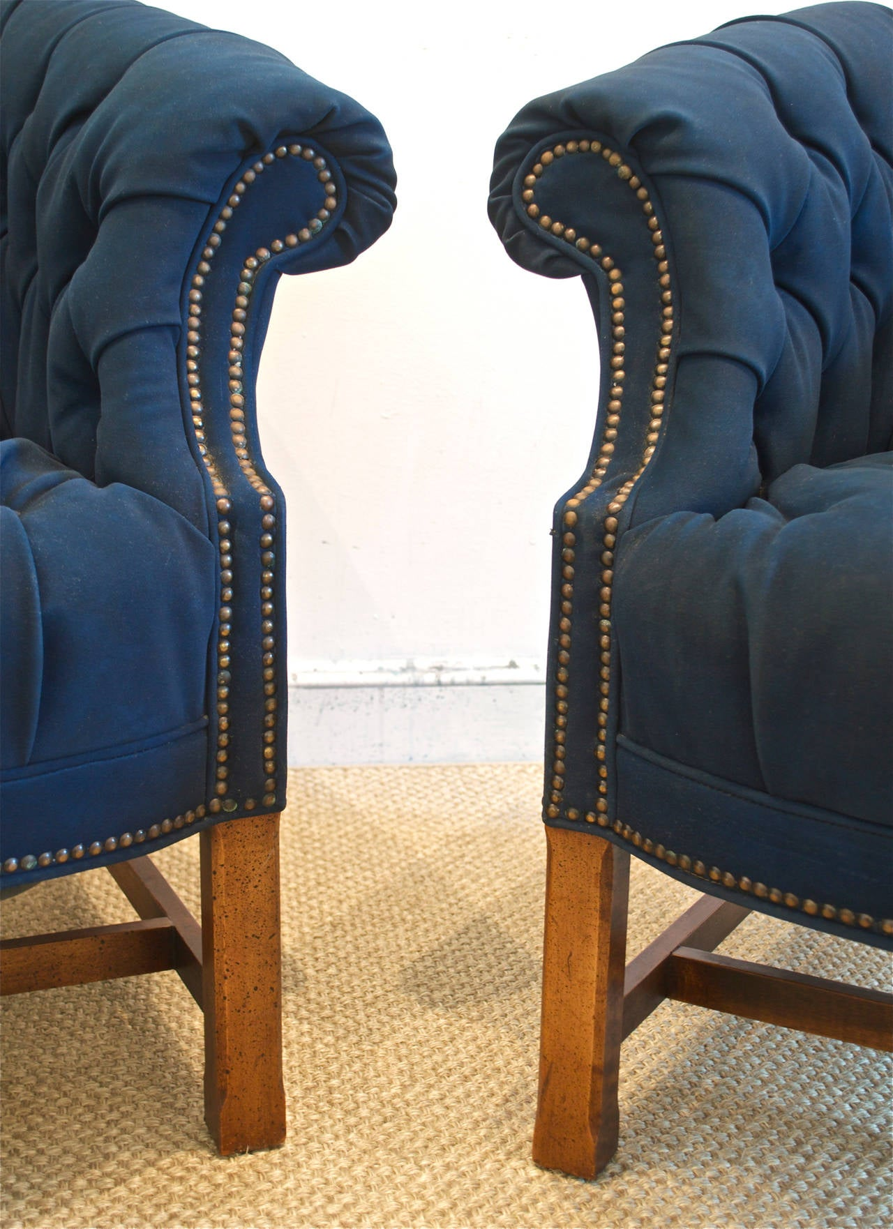 Navy Tufted Headboard By High Fashion Home: Button Tufted Club Chairs In Navy Canvas At 1stdibs