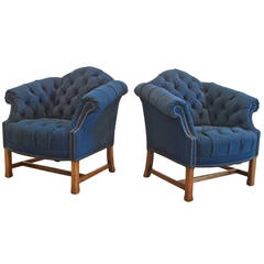 Button Tufted Club Chairs in Navy Canvas