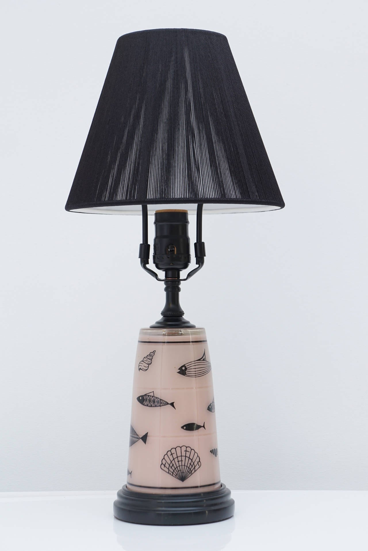 1950s glass and wood table lamp for sale at 1stdibs. Black Bedroom Furniture Sets. Home Design Ideas
