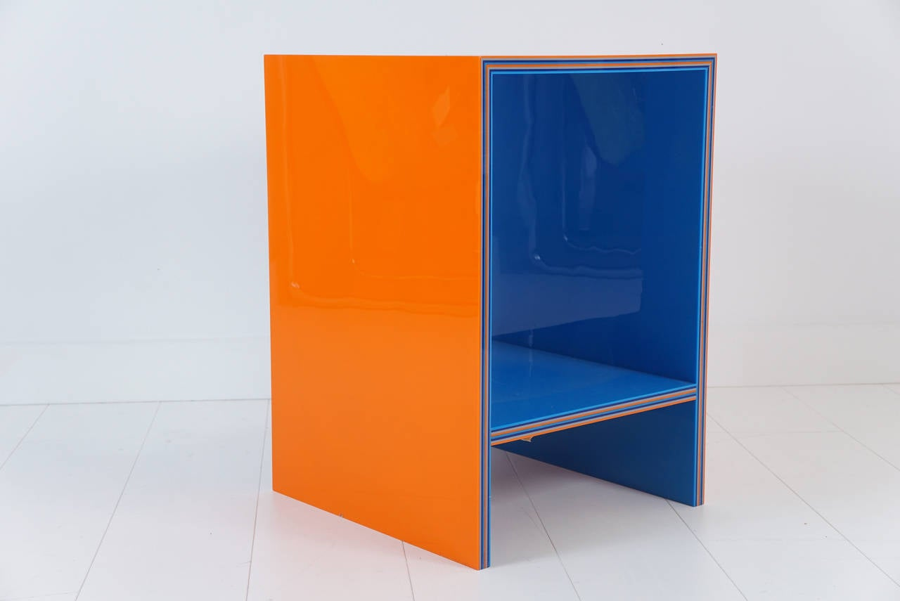 Custom laminated acrylic end tables in three colors at 1stdibs for Custom laminations