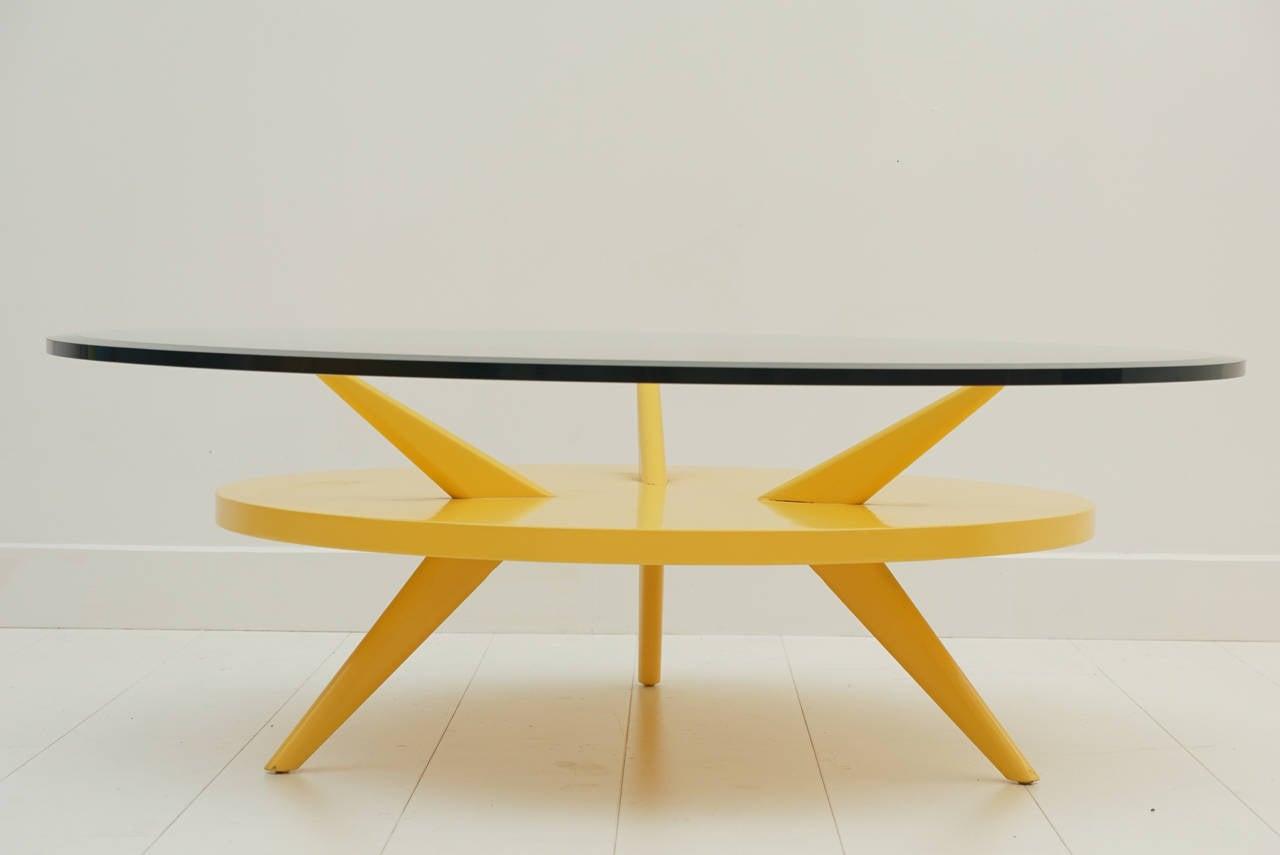 Vintage Lemon Drop Yellow Coffee Table For Sale at 1stdibs