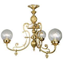 Late 19th Century Neoclassical Brass Gaslight Chandelier