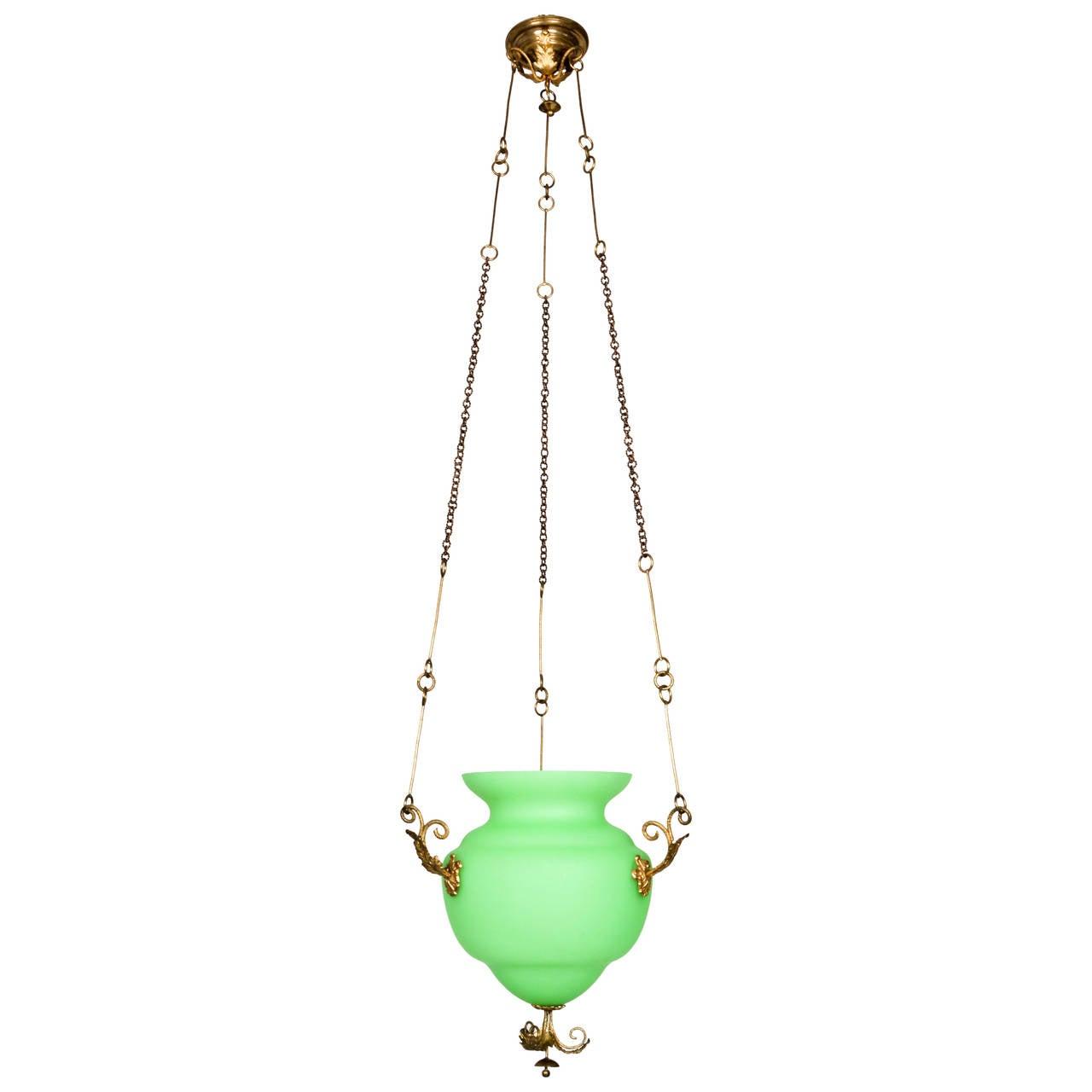 Mid 19th Century Green Opaque Glass Biedermeier Pendant