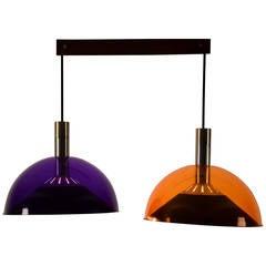 1960s Purple and Orange Acrylic Ceiling Lamp