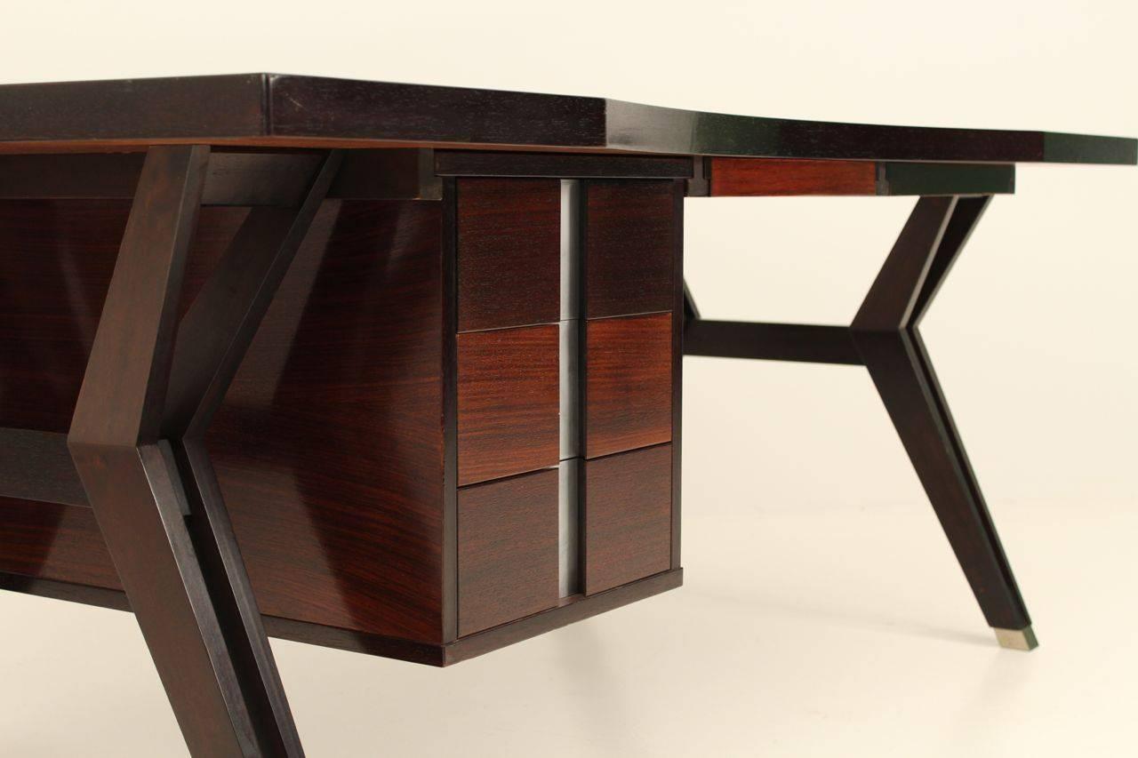 Mid-Century Modern Ico Paris mid century rosewood executive desk For Sale
