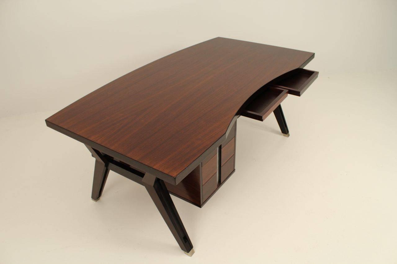 Mid-20th Century Ico Paris mid century rosewood executive desk For Sale