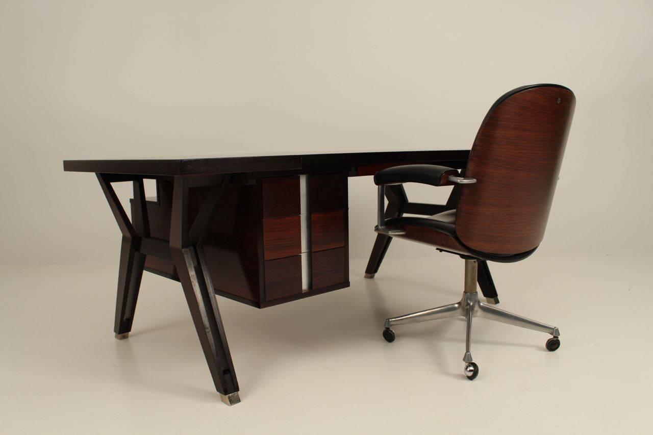 Aluminum Ico Paris mid century rosewood executive desk For Sale