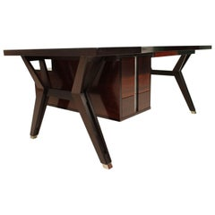Ico Paris Mid Century Modern Rosewood Executive 6 Pieces Office Set.